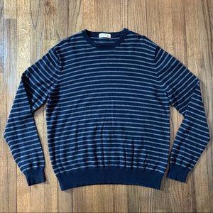 J. Crew Cotton Cashmere Navy Striped Sweater